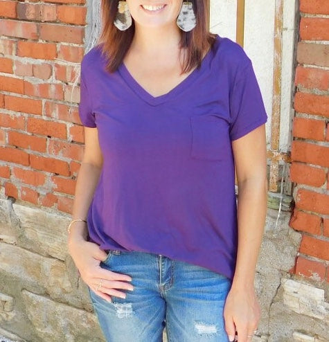 Purple V Neck Pocket Tee