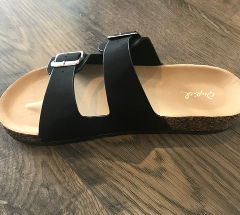 Black Buckle Band Sandals