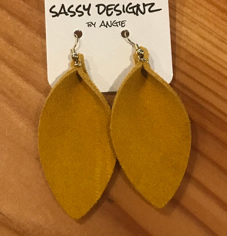 Sassy Designs Pinched Leaf Suede Earrings