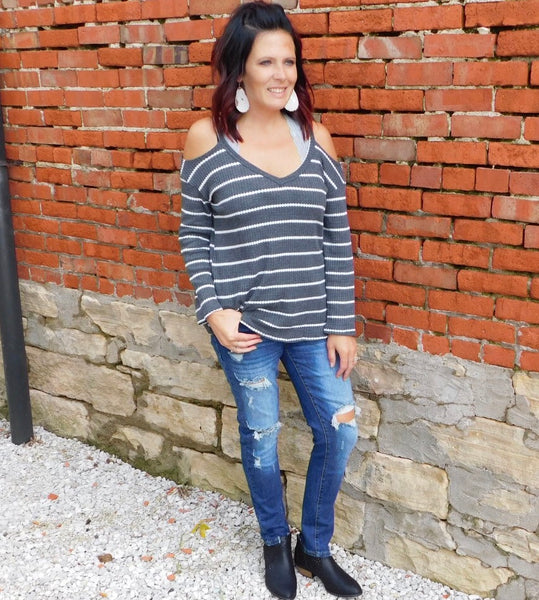 Charcoal & Ivory Striped Cold Shoulder Thermal Top
