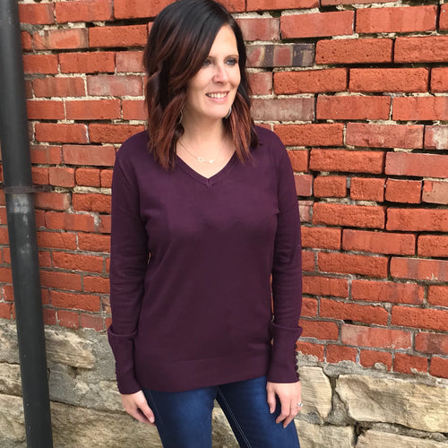 Dark Plum Button Sleeve Sweater