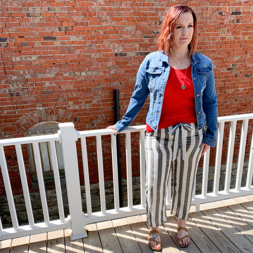 Striped Crop Linen Pants - Plus