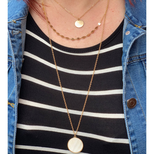 Circle Pendant Layered Necklace