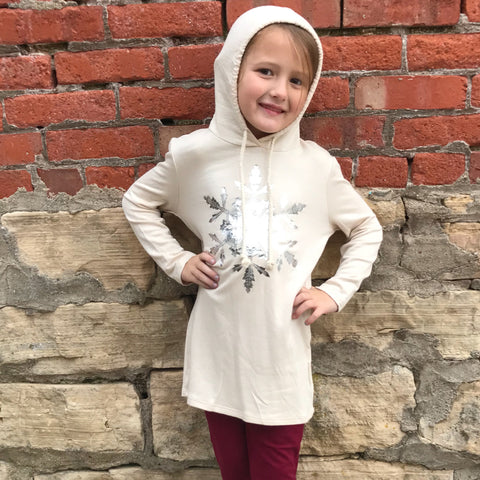 Girls Silver Snowflake Top