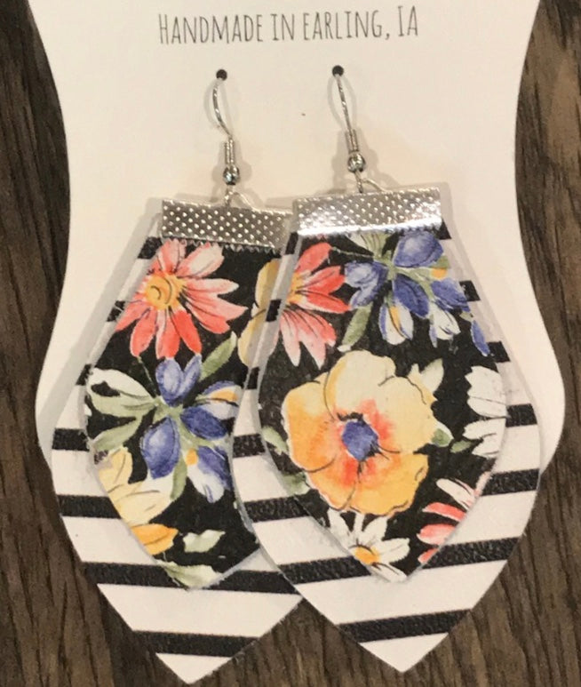 Floral & Stripes Leather Earrings