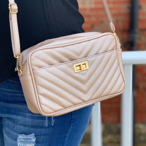 Rose Gold Chevron Crossbody Bag