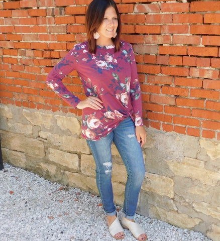 Wine Floral Print Knot Top