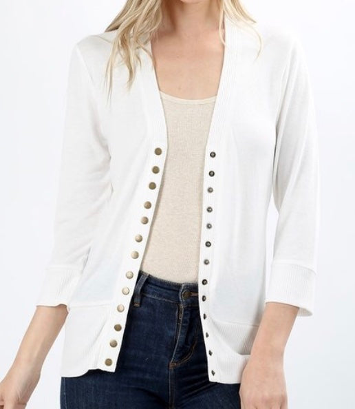 Ivory Snap Button Sweater Cardigan