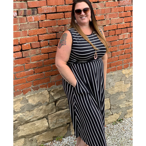Contrast Stripe Maxi Dress - Plus