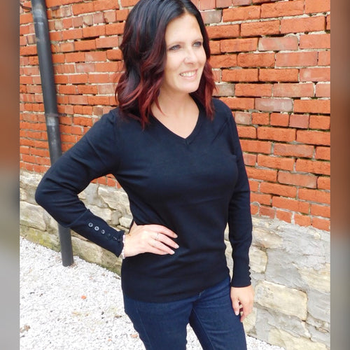 Black Button Sleeve Sweater -Plus