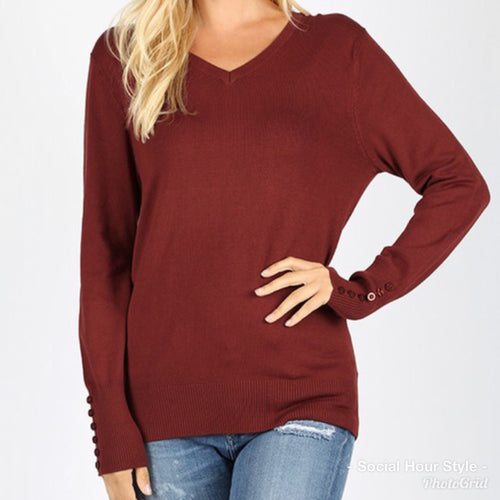 Rust Button Sleeve Sweater -Plus