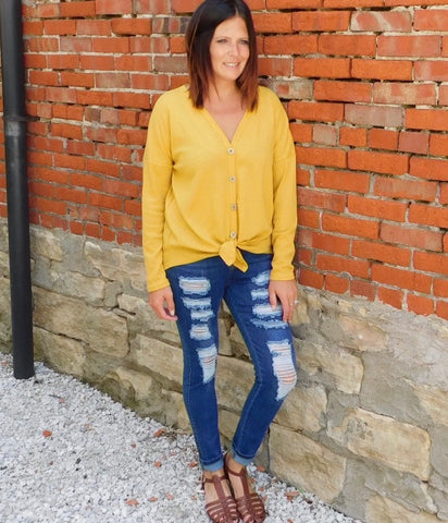 Mustard Long Sleeve Knit Top