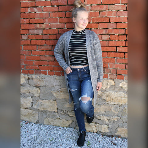 Heather Grey Sweater Cardigan