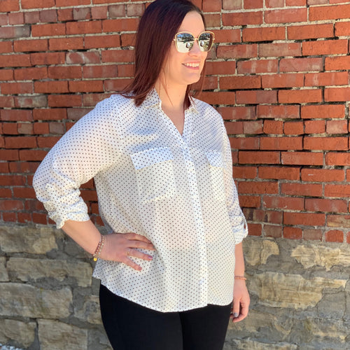 White Polka Dot Front Button Top - Plus