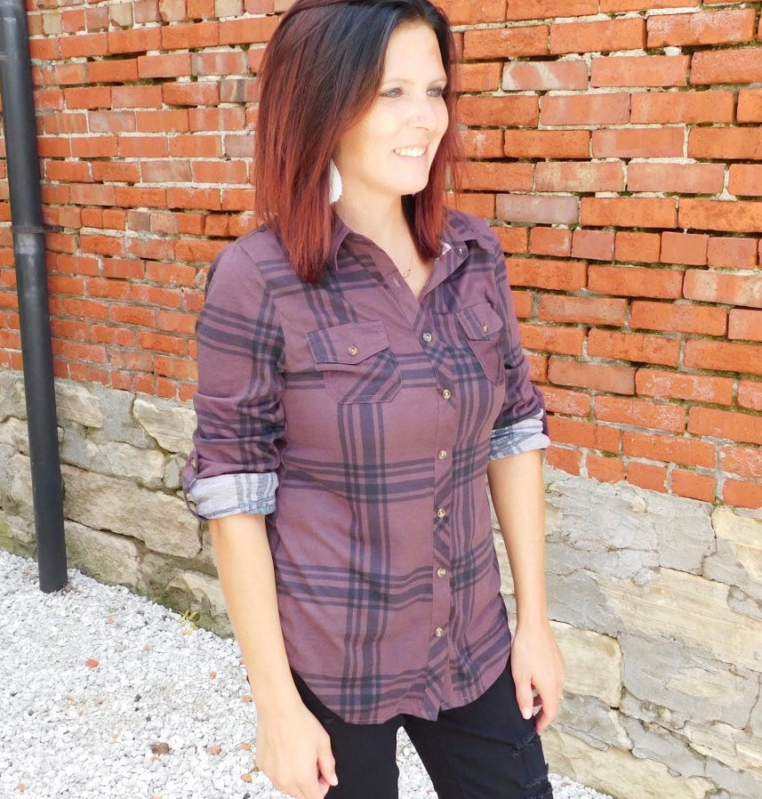 Plum & Black Plaid Top