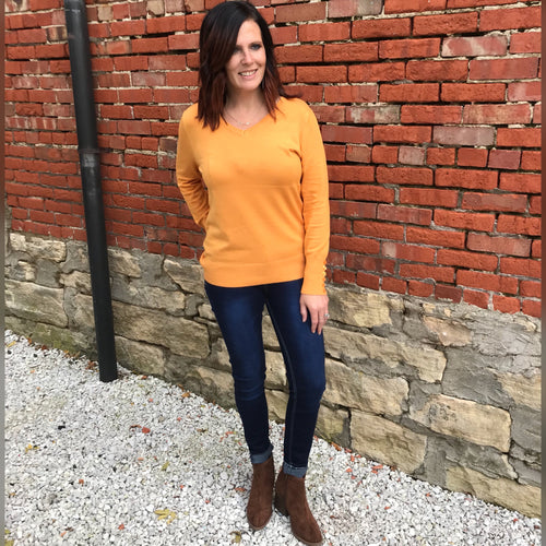 Ash Mustard Button Sleeve Sweater