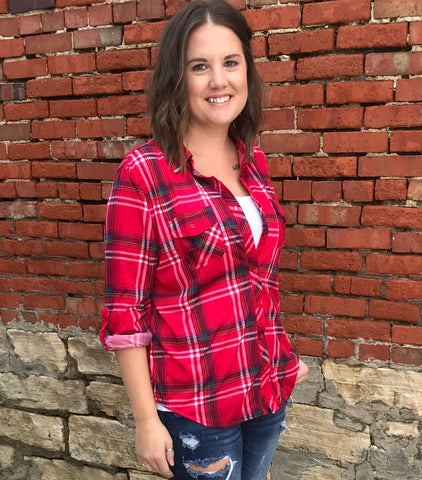 Red Plaid Top - Plus
