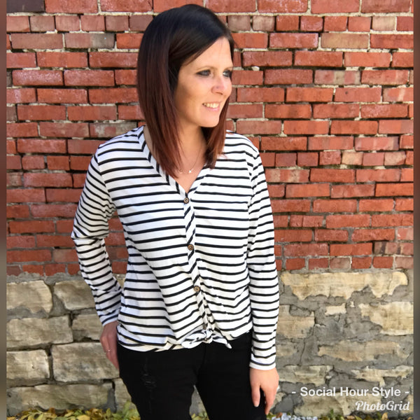 White Striped Tie-Front Top