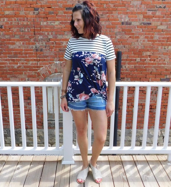 Striped Floral Color Block Top