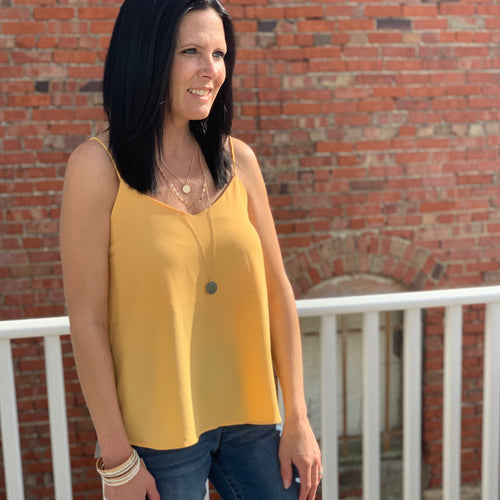 Yellow Textured Knit Cami