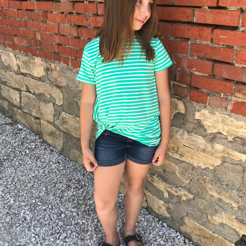 Girls Striped Knot Top