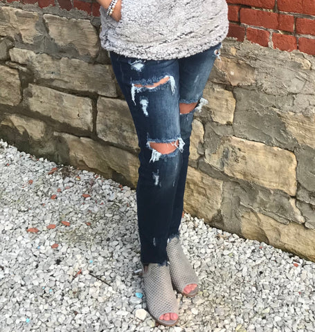 Kan Can Dark Wash Destroyed Skinny Jeans