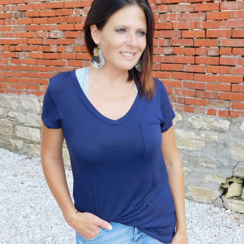 Navy V Neck Pocket Tee