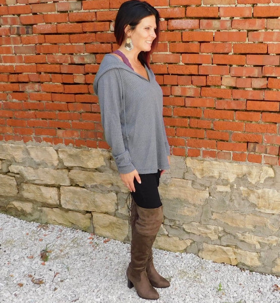 Grey Hooded Thermal Top
