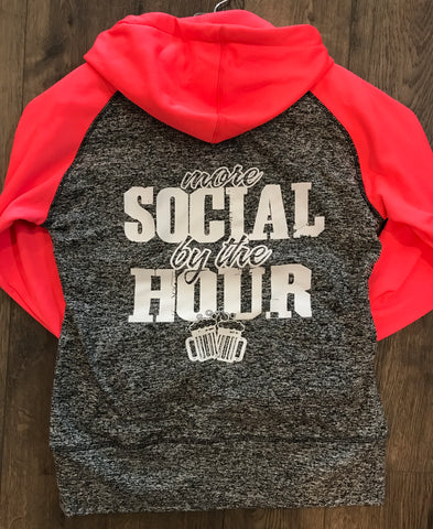 More Social By the Hour Charcoal/Coral Hoodie