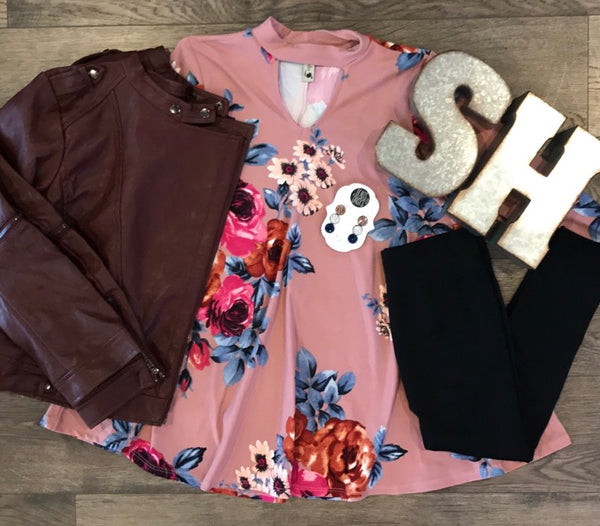 Juniors Floral Mauve Top