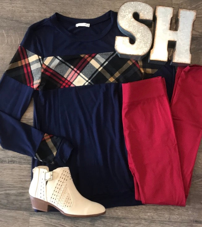 Navy Plaid Color Block Top