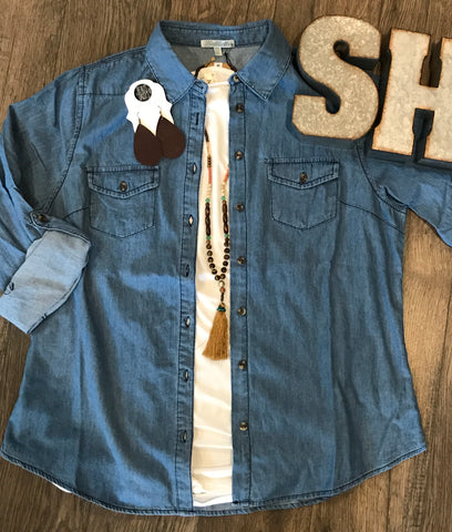 Chambray Button Down - Plus