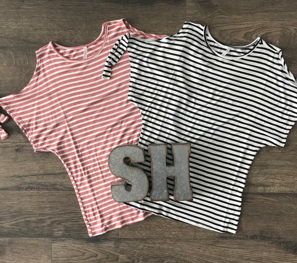 Cold Shoulder Striped Rayon Tee