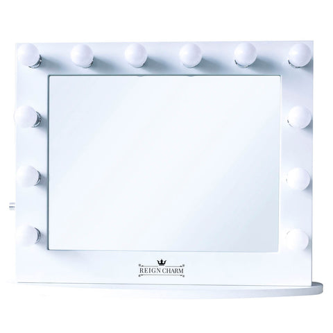 "Cinema Series Hollywood Vanity Mirror, 12 LED Lights, Dual Outlets & USB, 32""W x 27""H White"