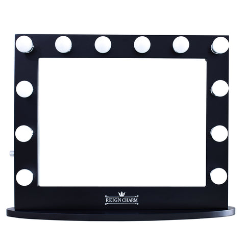 "Cinema Series Hollywood Vanity Mirror, 12 LED Lights, Dual Outlets & USB, 32""W x 27""H Matte Black"