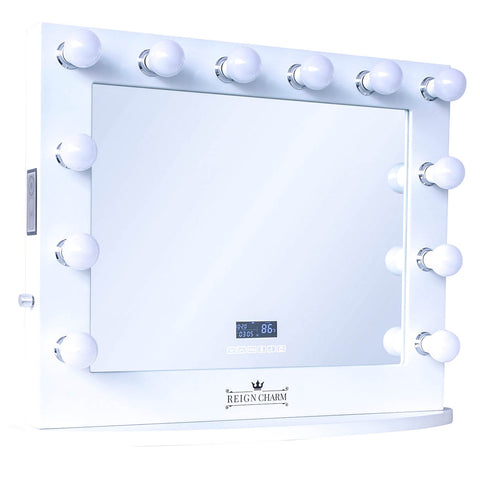 "Cinema Series Hollywood Vanity Mirror with Bluetooth Speakers, 12 LED Lights, Dual Outlets & USB, 32""W x 27""H"