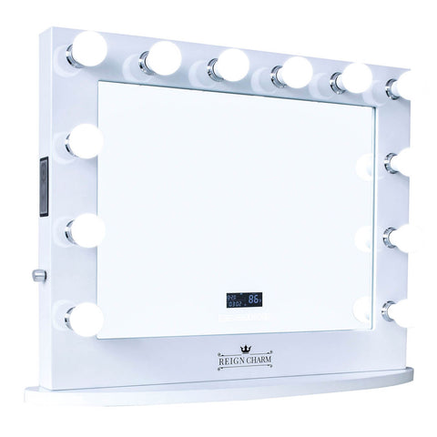"Cinema Series Hollywood Vanity Mirror with Bluetooth Speakers, 12 LED Lights, Dual Outlets & USB, 32""W x 27""H Matte Black"