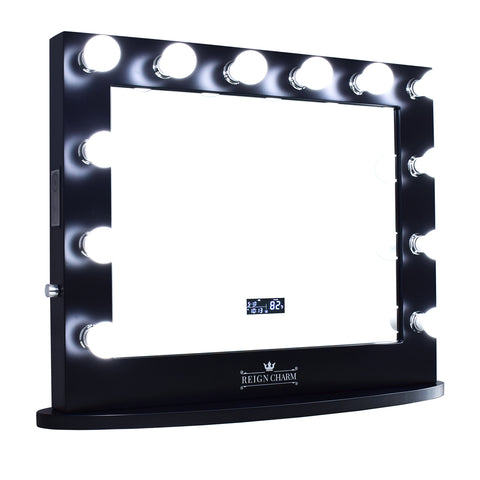 "Cinema Series Hollywood Vanity Mirror with Bluetooth Speakers, 12 LED Lights, Dual Outlets & USB, 32""W x 27""H Rose Gold"