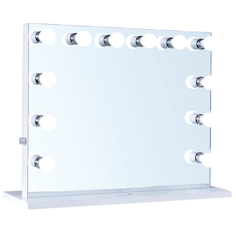 "12-LED Bulbs Diamond Cut Hollywood Vanity Mirror, 32""W x 27""H"