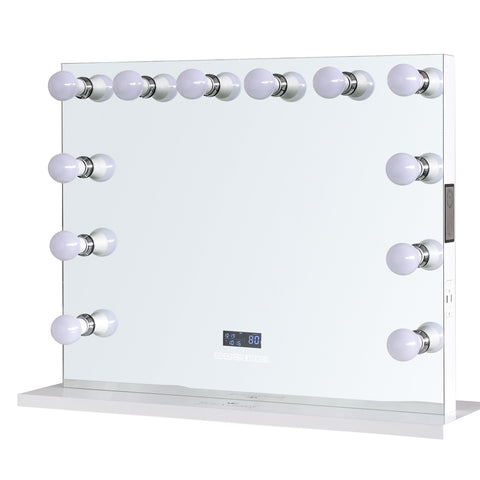 "12-LED Bulbs Diamond Cut RockStar Hollywood Vanity Mirror with Bluetooth Speakers, 32""W x 27""H"