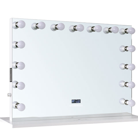 "15-LED Bulbs Diamond Cut RockStar Hollywood Vanity Mirror with Bluetooth Speakers, 44""W x 33""H"