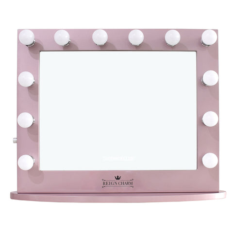 "Cinema Series Hollywood Vanity Mirror, 12 LED Lights, Dual Outlets & USB, 32""W x 27""H Rose Gold"