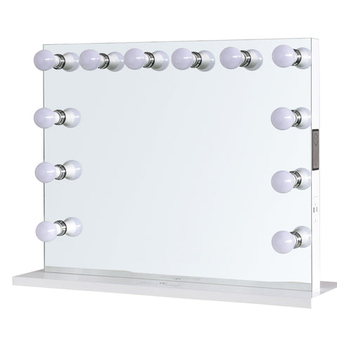 "12-LED Bulbs Music Box Hollywood Vanity Mirror with Bluetooth Speakers, 32""W x 27""H"