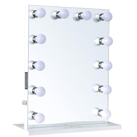 "12-LED Bulbs Music Box Hollywood Vanity Mirror with Bluetooth Speakers, 22""W x 29""H"