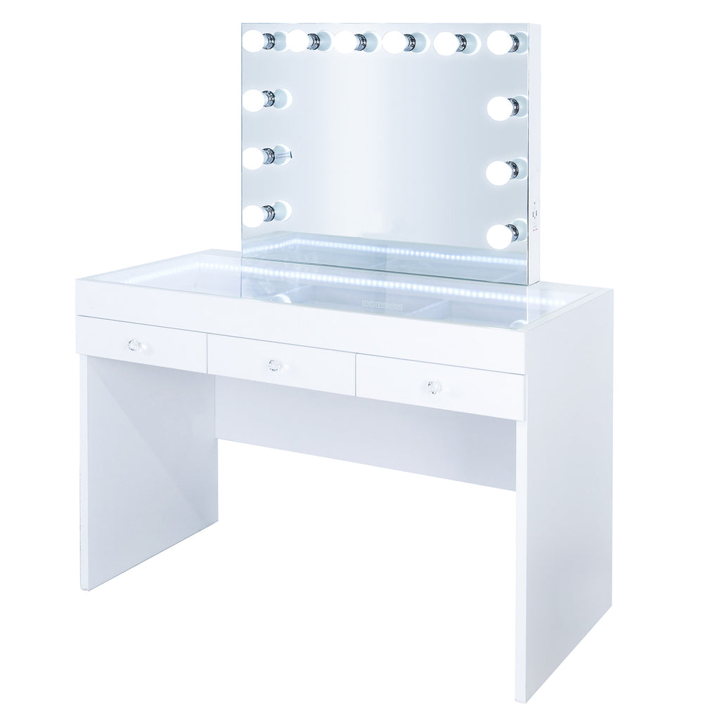 Fiat Lux Lighted 3-Drawer Vanity Table with Kelly Classic