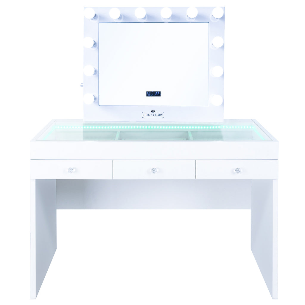 FIAT LUX LIGHTED 3-DRAWER VANITY TABLE WITH Sophia BT MIRROR