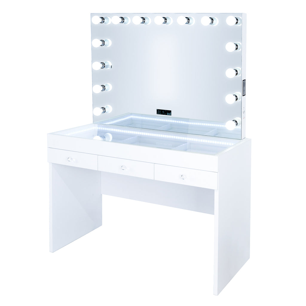 Fiat Lux Lighted 3-Drawer Vanity Table with Marilyn BT Mirror