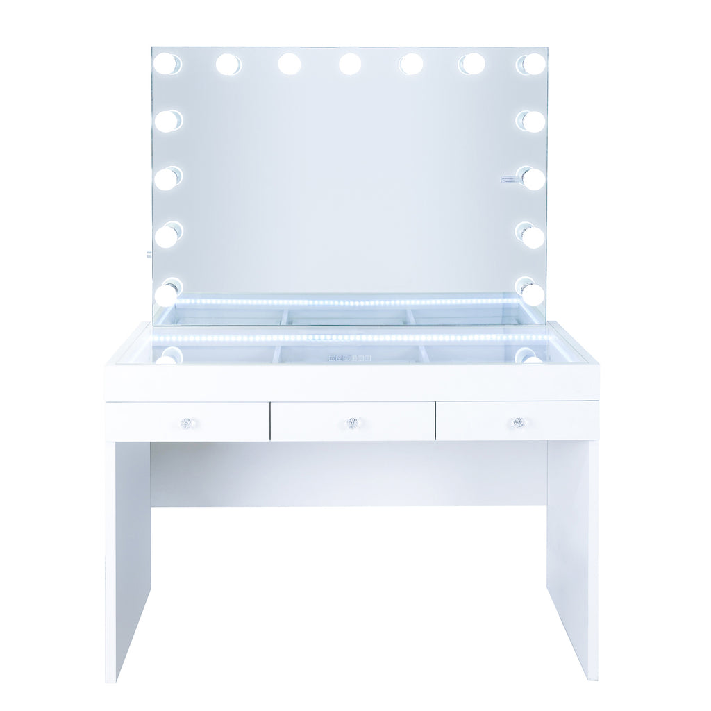 Fiat Lux Lighted 3-Drawer Vanity Table with Marilyn Classic