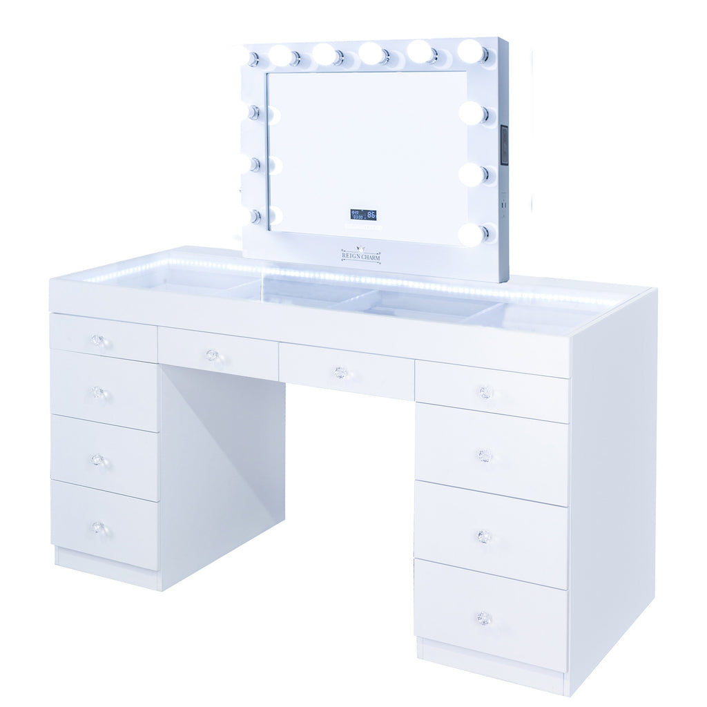 FIAT LUX LIGHTED 10-DRAWER VANITY TABLE + SOPHIA BT MIRROR