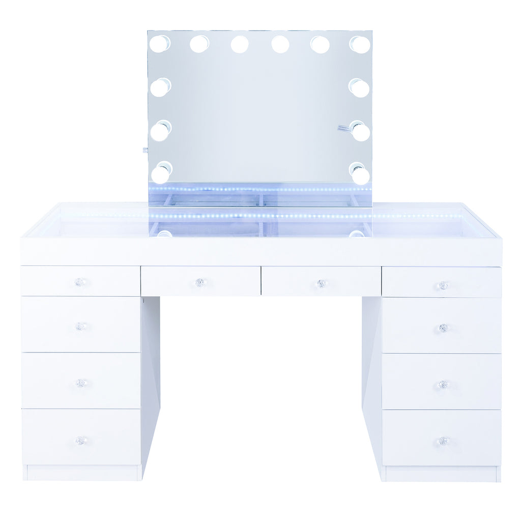 Fiat Lux Lighted 10-Drawer Vanity Table + Kelly Classic